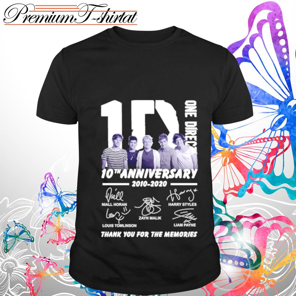 1D One Direction 10th anniversary 2010-2020 thank you for the memories shirt