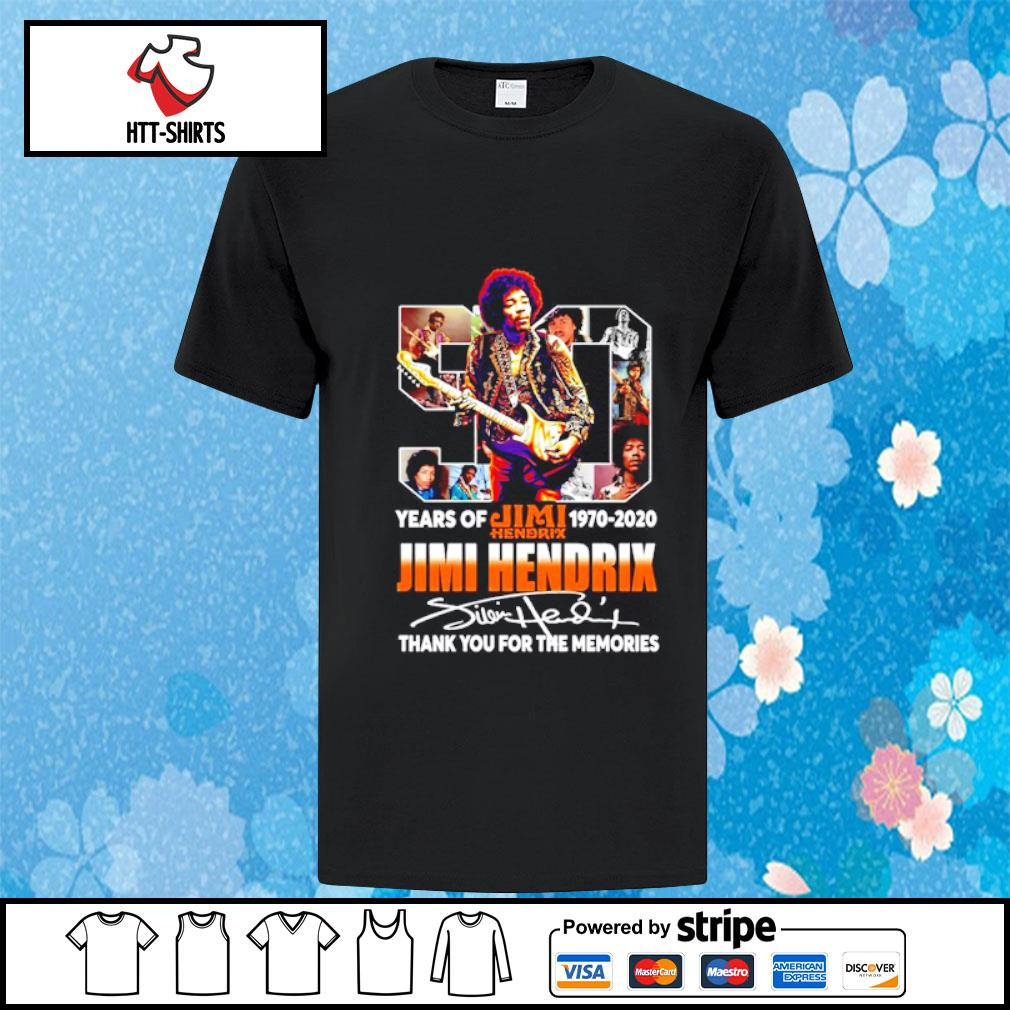 50 years of Jimi Hendrix 1970-2020 thank you for the memories shirt