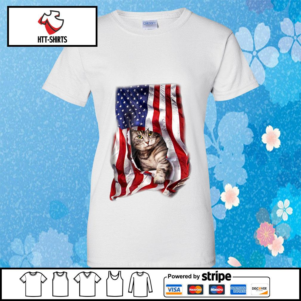 American Cat Flag Shirt ladies-tee