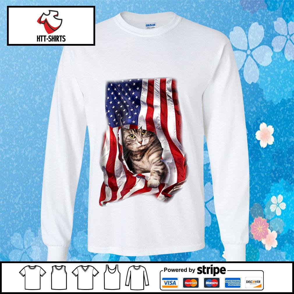 American Cat Flag Shirt longsleeve-tee