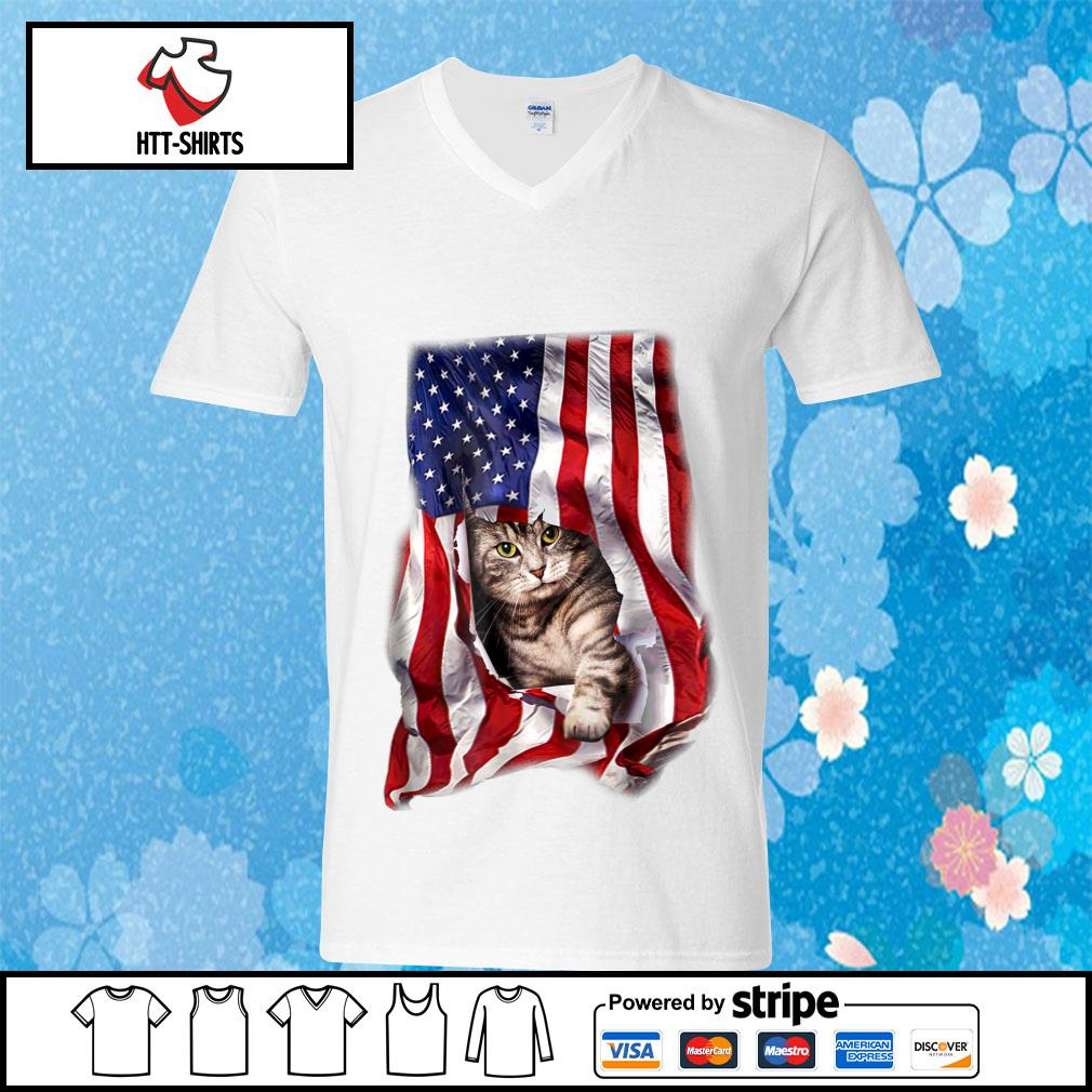 American Cat Flag Shirt v-neck-t-shirt