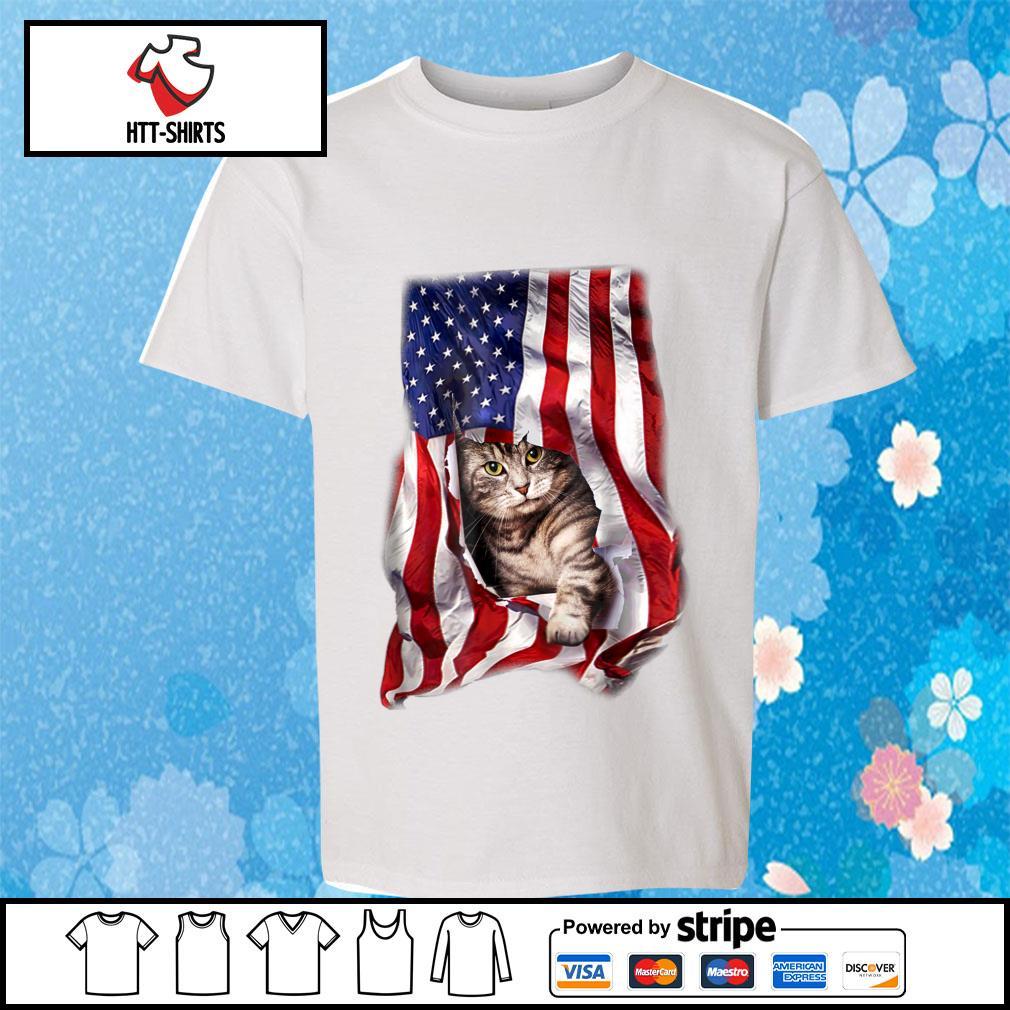 American Cat Flag Shirt youth-tee