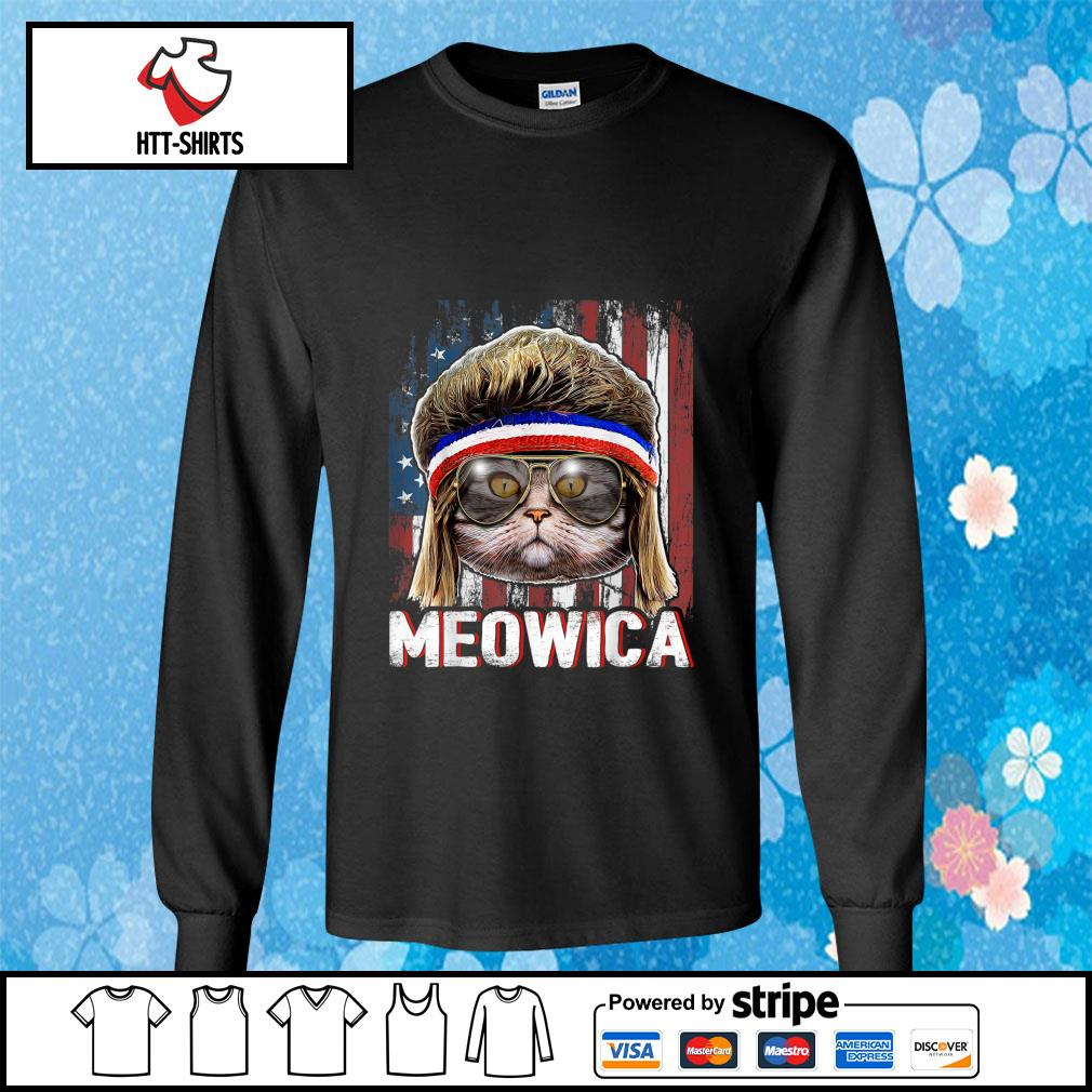 Cat Meowica American Flag 4th Of July Independence Day s longsleeve-tee