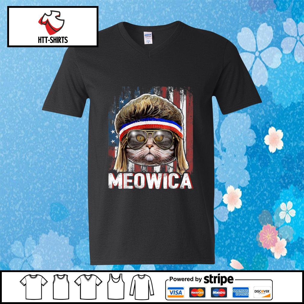 Cat Meowica American Flag 4th Of July Independence Day s v-neck-t-shirt
