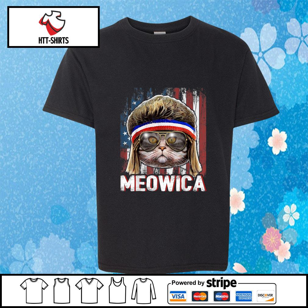 Cat Meowica American Flag 4th Of July Independence Day s youth-tee