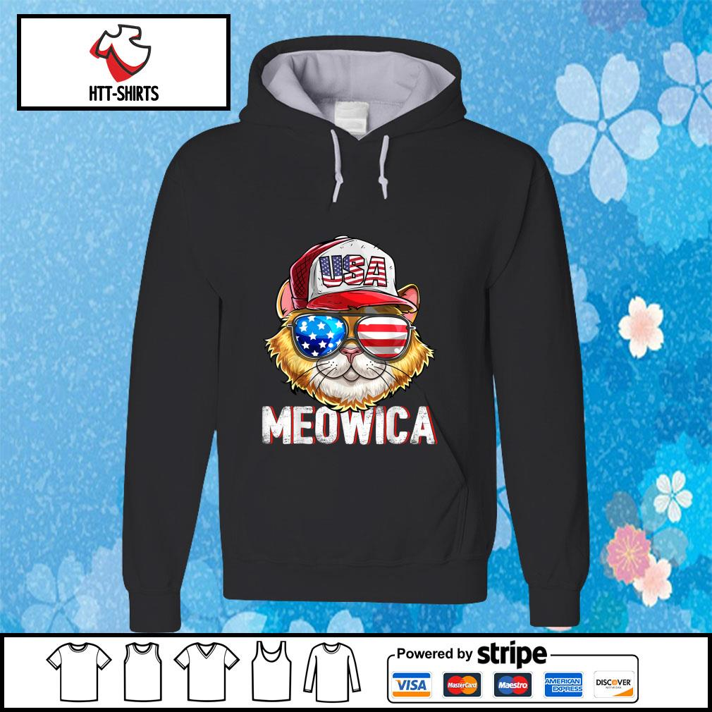 Hot Meowica Cat Hat Sunglasses USA American Flag Independence Day s hoodie