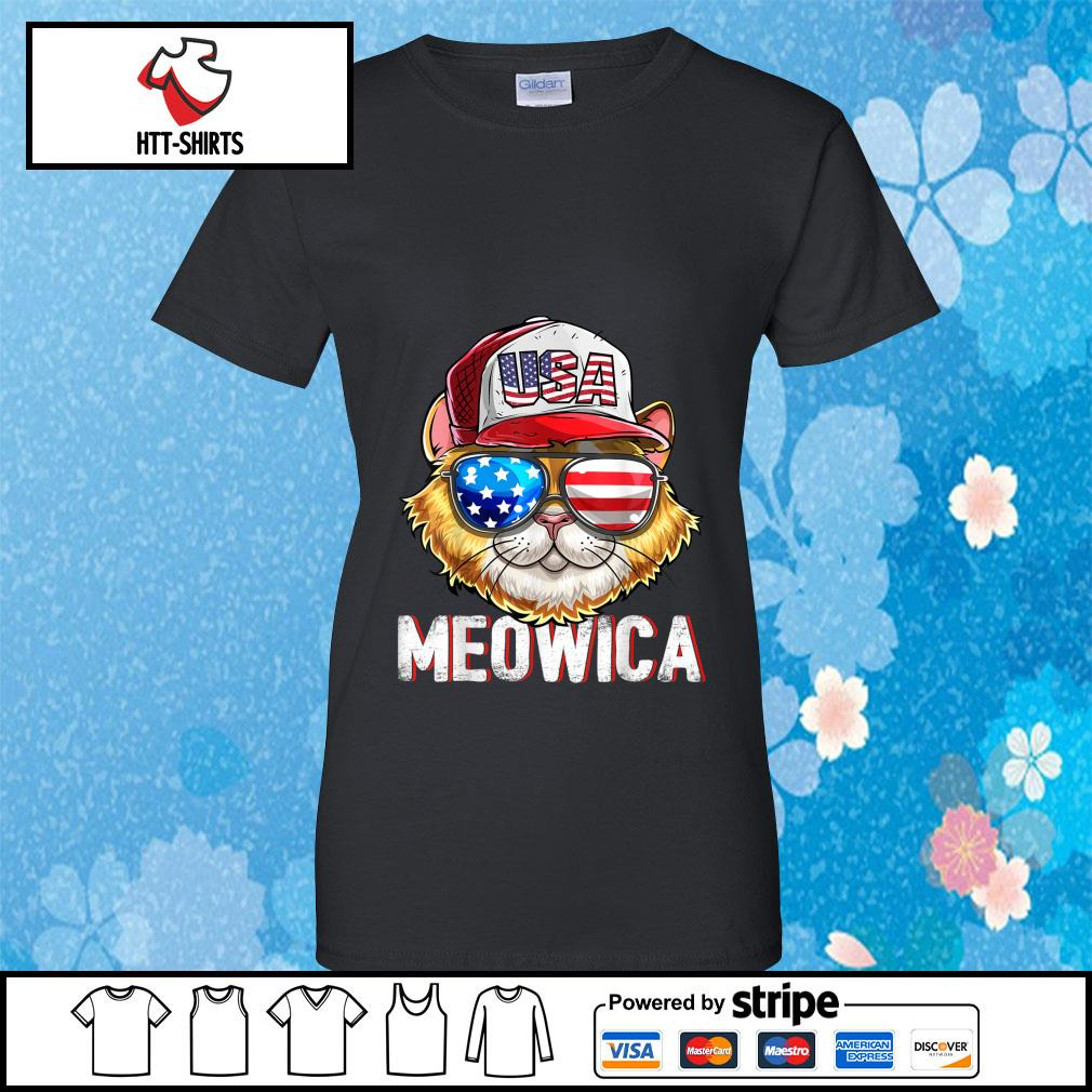 Hot Meowica Cat Hat Sunglasses USA American Flag Independence Day s ladies-tee
