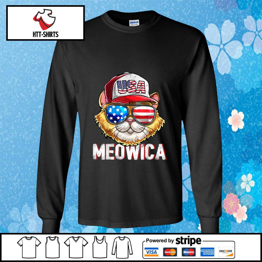Hot Meowica Cat Hat Sunglasses USA American Flag Independence Day s longsleeve-tee