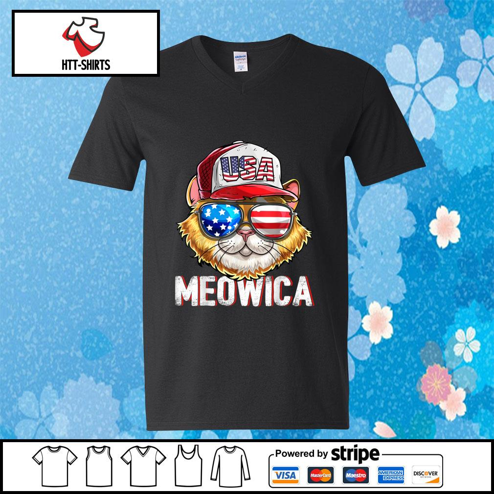 Hot Meowica Cat Hat Sunglasses USA American Flag Independence Day s v-neck-t-shirt