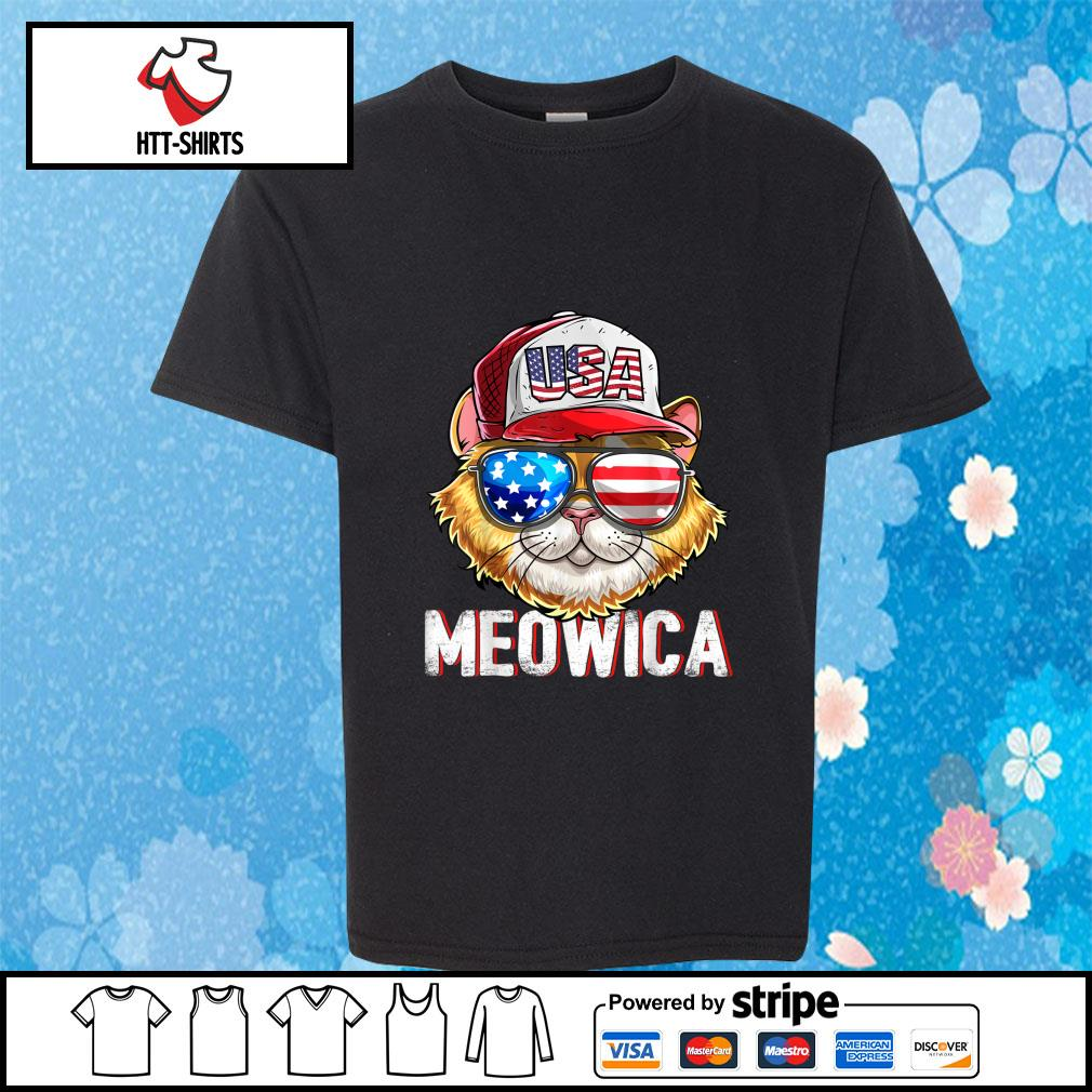 Hot Meowica Cat Hat Sunglasses USA American Flag Independence Day s youth-tee