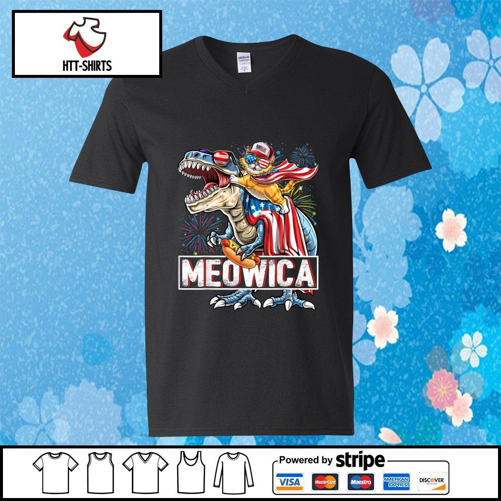 Meowica Amerisaurus Rex Happy Independence Day Shirt v-neck-t-shirt