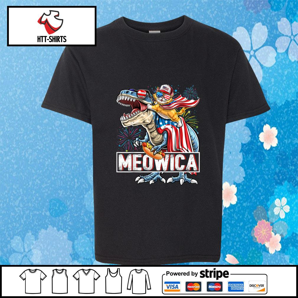 Meowica Amerisaurus Rex Happy Independence Day Shirt youth-tee