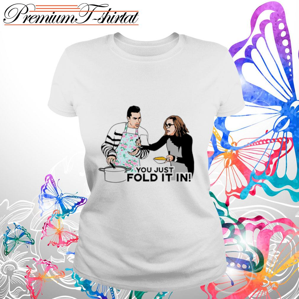 You just fold it in s ladies tee