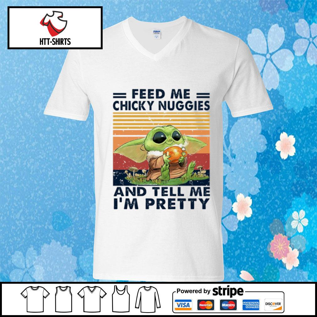 Baby Yoda feed me chicky nuggies and tell me I'm pretty vintage s v-neck-t-shirt