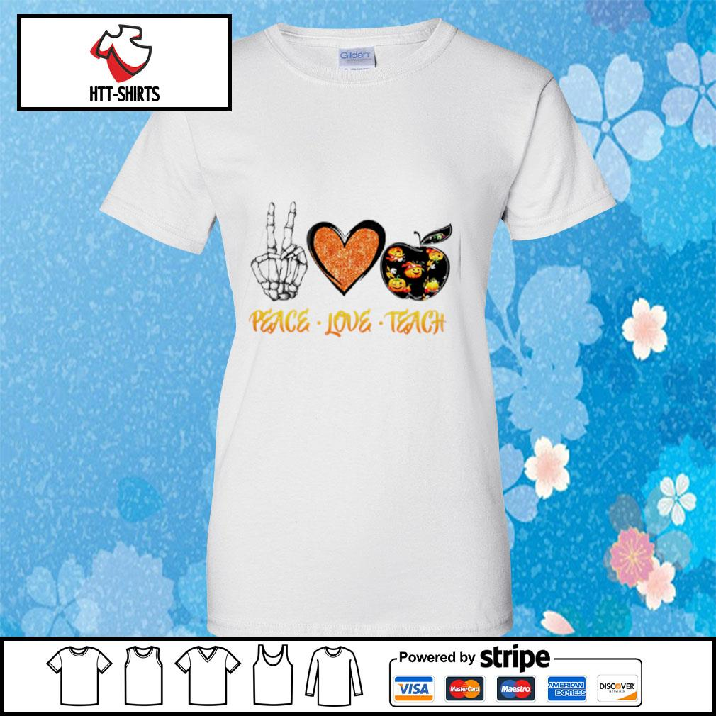Peace love teach Halloween s ladies-tee