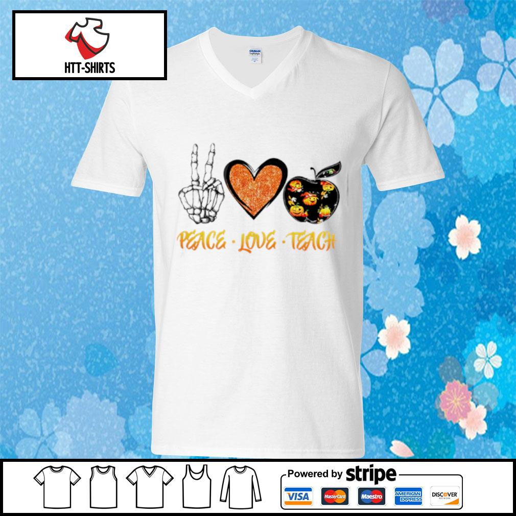 Peace love teach Halloween s v-neck-t-shirt