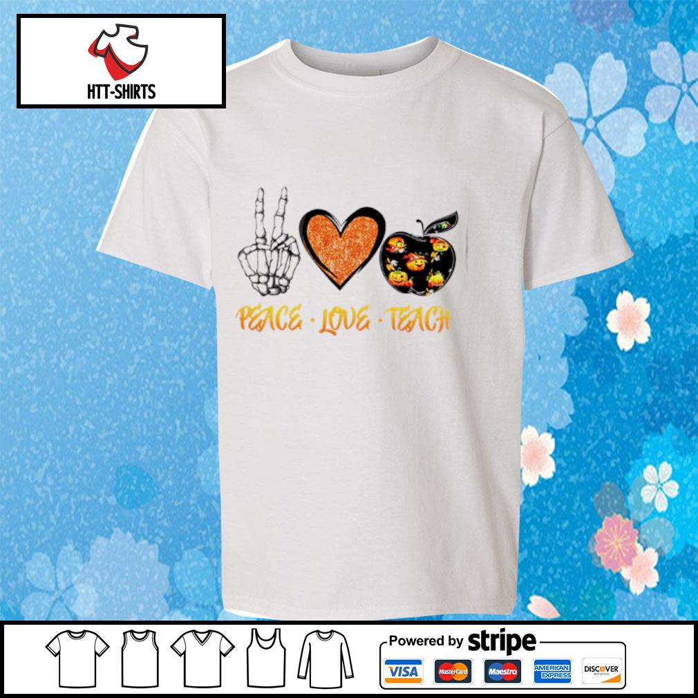 Peace love teach Halloween s youth-tee