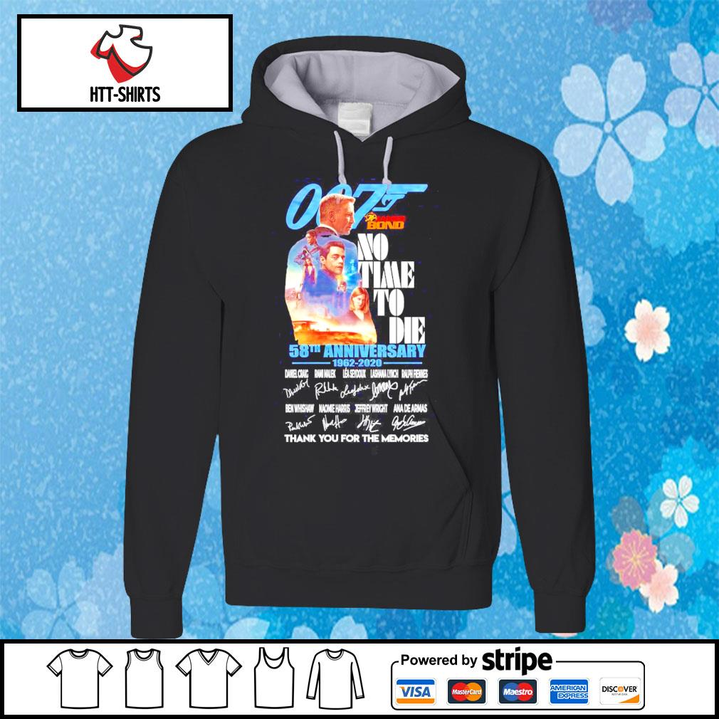 007 James Bond No Time To Die 58th anniversary 1962-2020 signatures thank you for the memories s hoodie