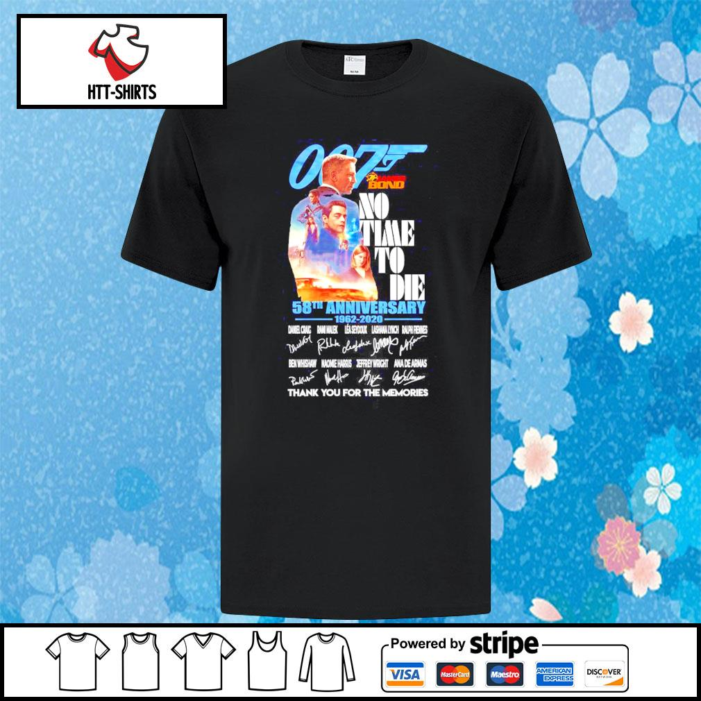007 James Bond No Time To Die 58th anniversary 1962-2020 signatures thank you for the memories shirt