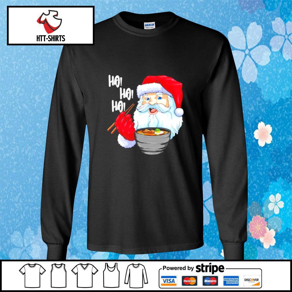 Awesome Santa Claus Eats Noodles Merry Christmas s longsleeve-tee