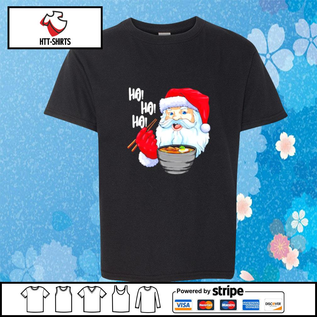 Awesome Santa Claus Eats Noodles Merry Christmas s youth-tee