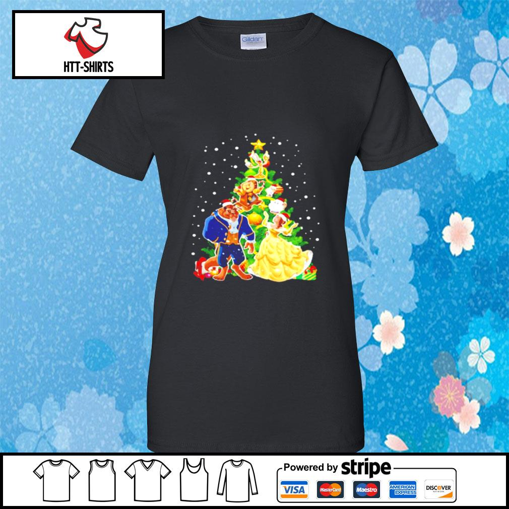 Beauty And The Beast Christmas Tree s ladies-tee