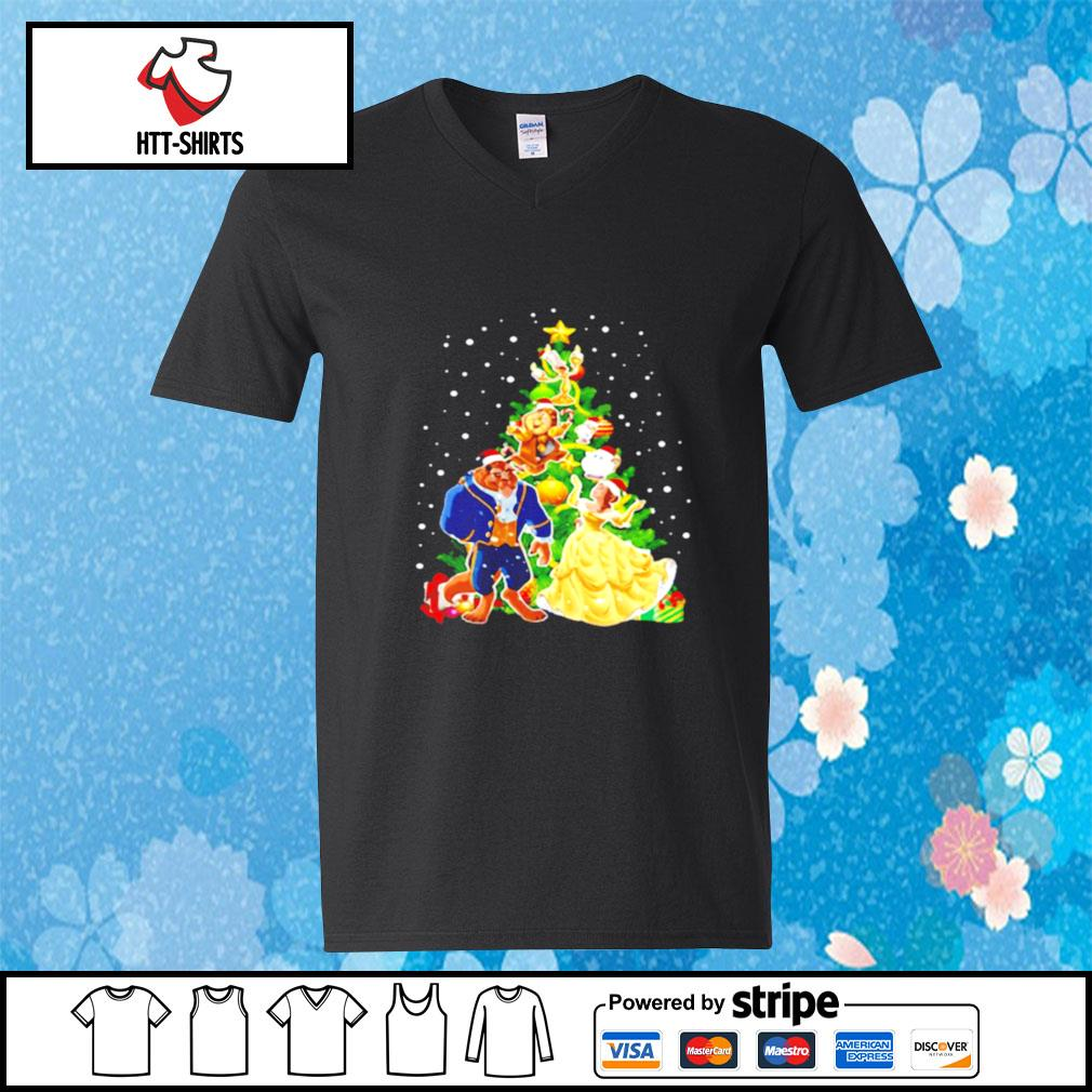 Beauty And The Beast Christmas Tree s v-neck-t-shirt