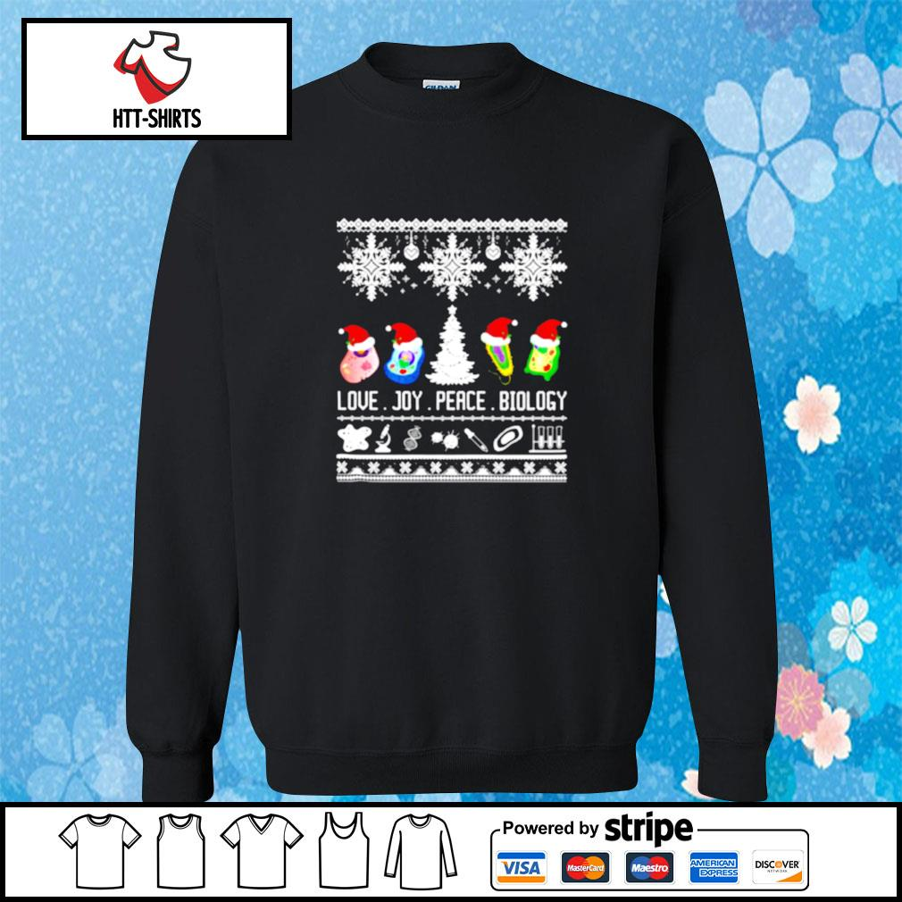 Biology Joke Love Joy Peace Biology Ugly Christmas s sweater