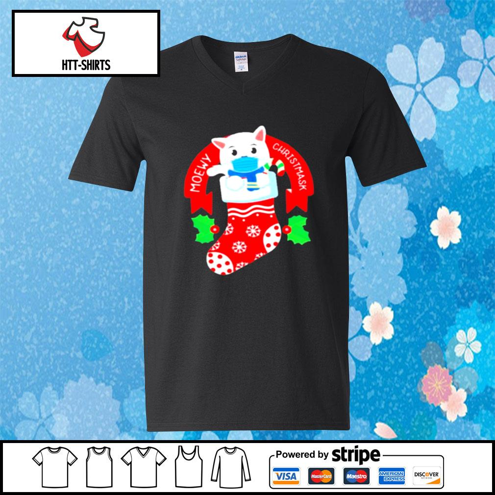 Cute Cat Face Mask Funny Christmas Stocking s v-neck-t-shirt