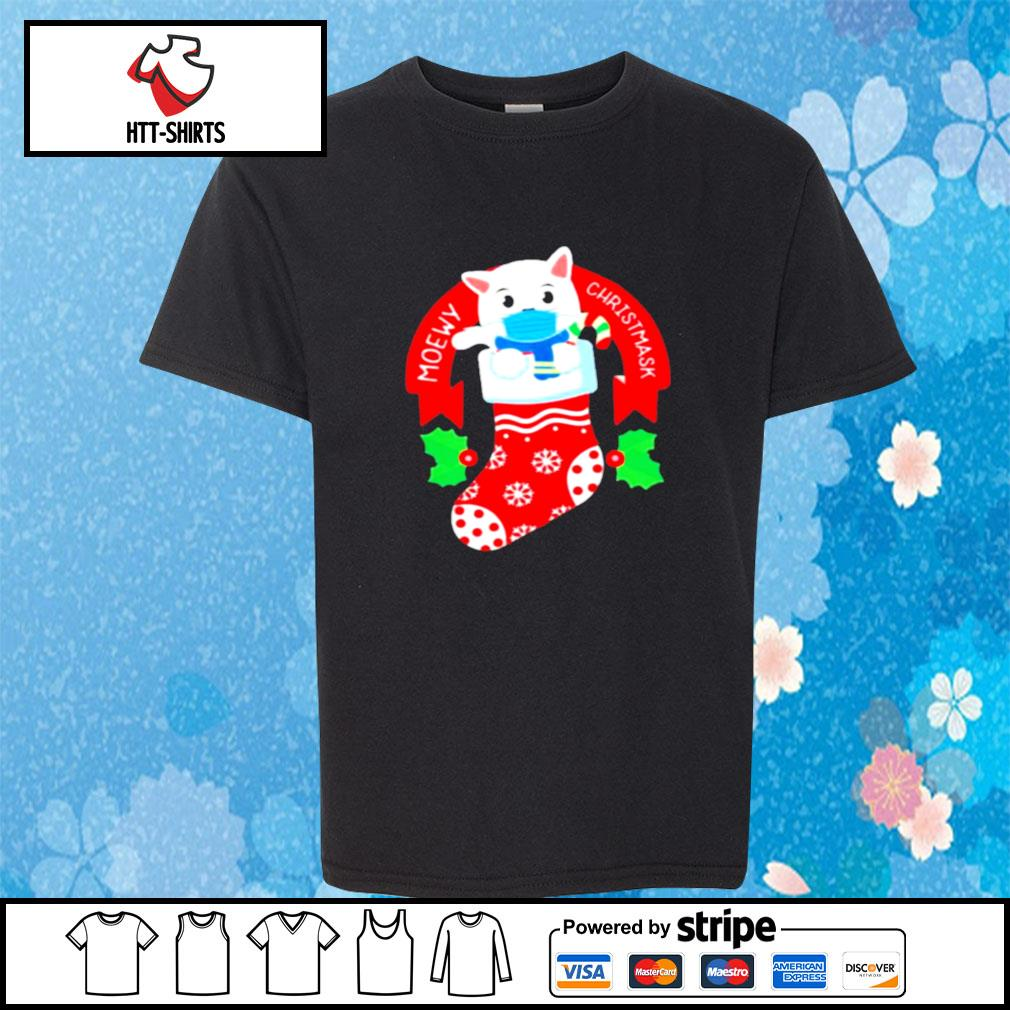 Cute Cat Face Mask Funny Christmas Stocking s youth-tee