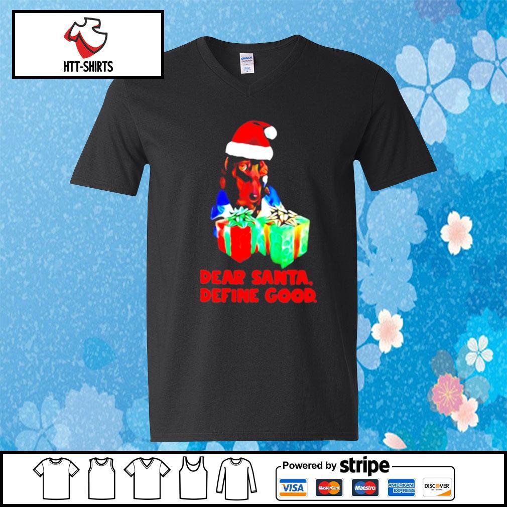 Dachshund dear santa define good christmas s v-neck-t-shirt