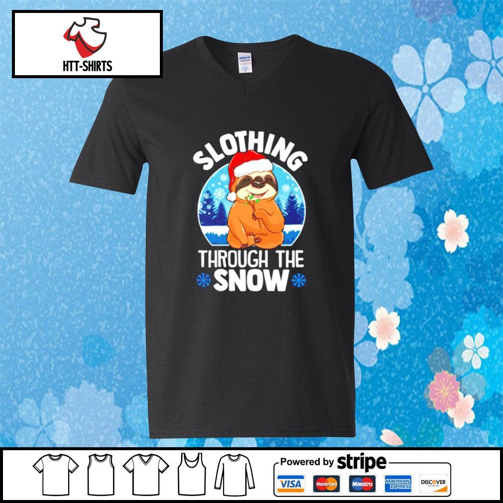 Slothing through the snow s v-neck-t-shirt