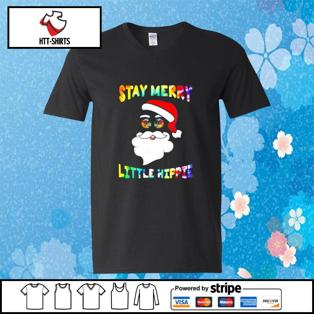 Santa Claus Stay Merry Little Hippie s v-neck-t-shirt