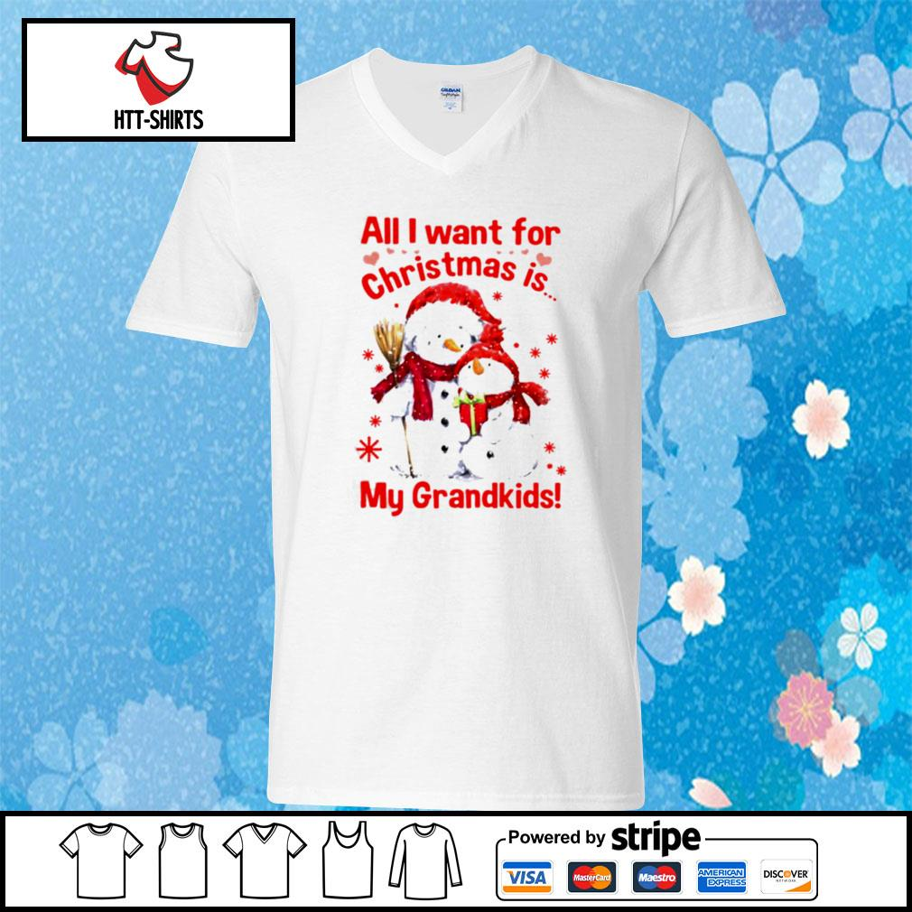 Snowman All I Want For Christmas Is My Grandkids s v-neck-t-shirt