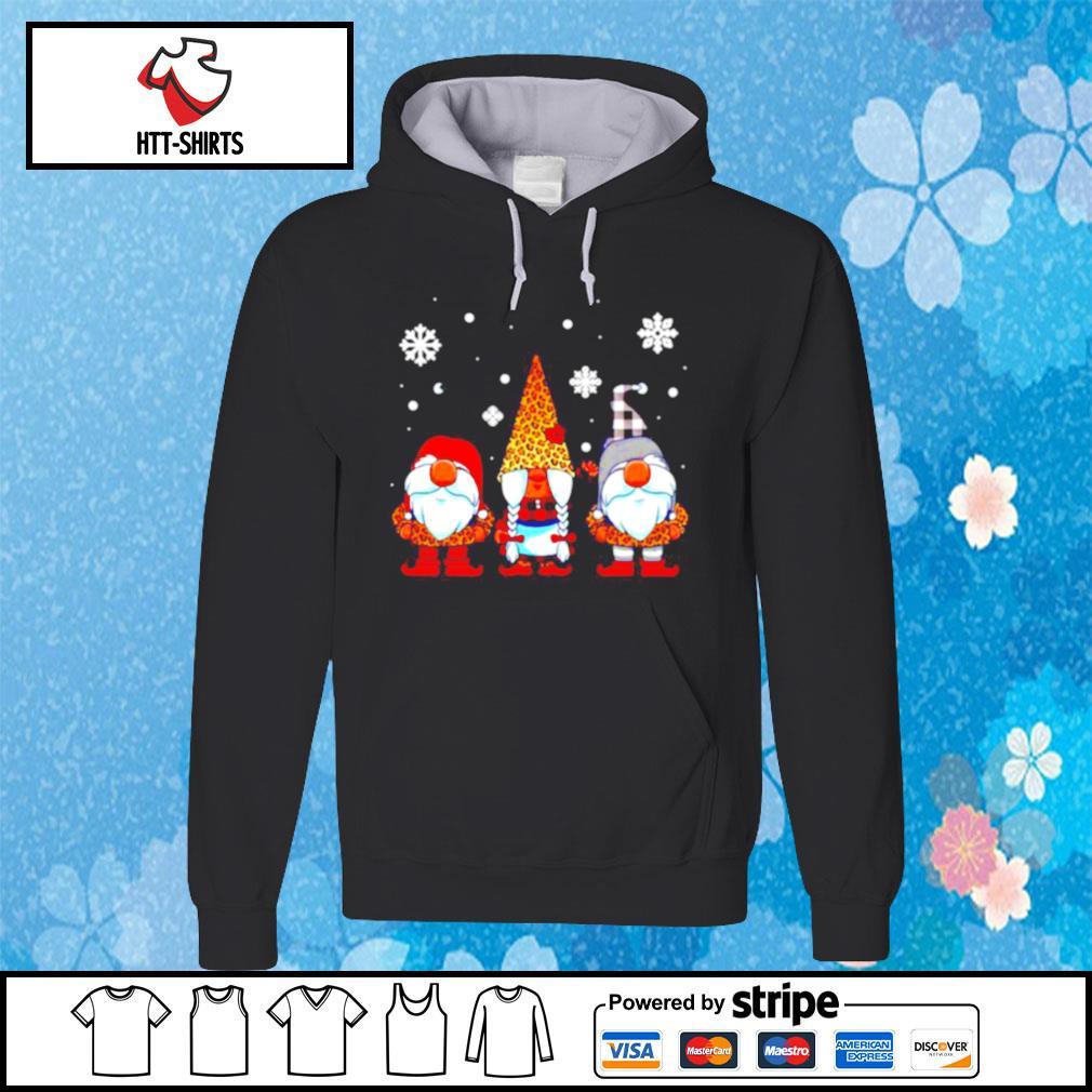 Three Gnomes In Leopard Print Buffalo Plaid Christmas Xmas s hoodie