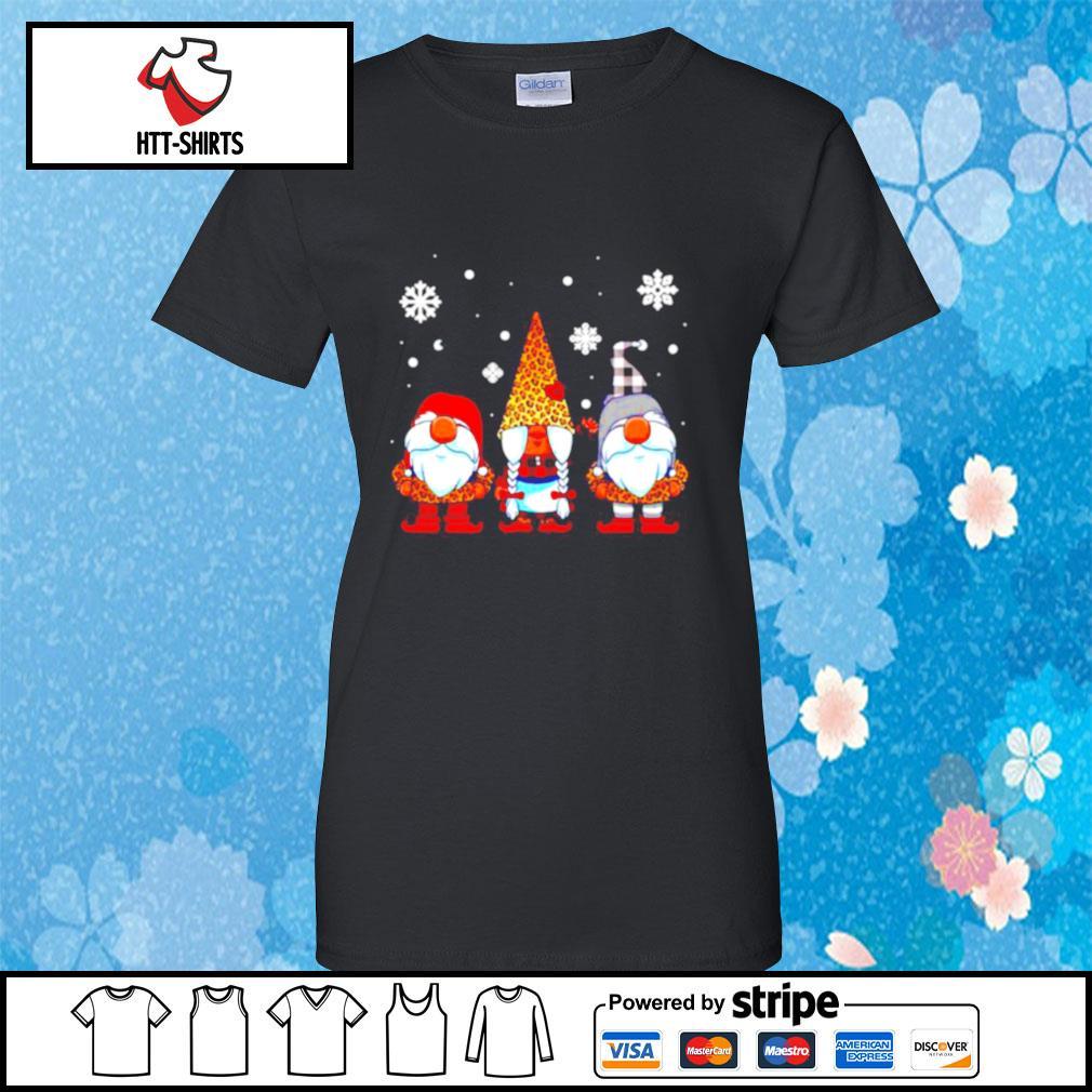 Three Gnomes In Leopard Print Buffalo Plaid Christmas Xmas s ladies-tee