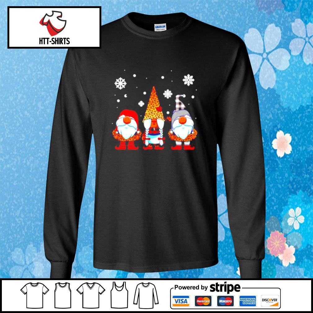 Three Gnomes In Leopard Print Buffalo Plaid Christmas Xmas s longsleeve-tee
