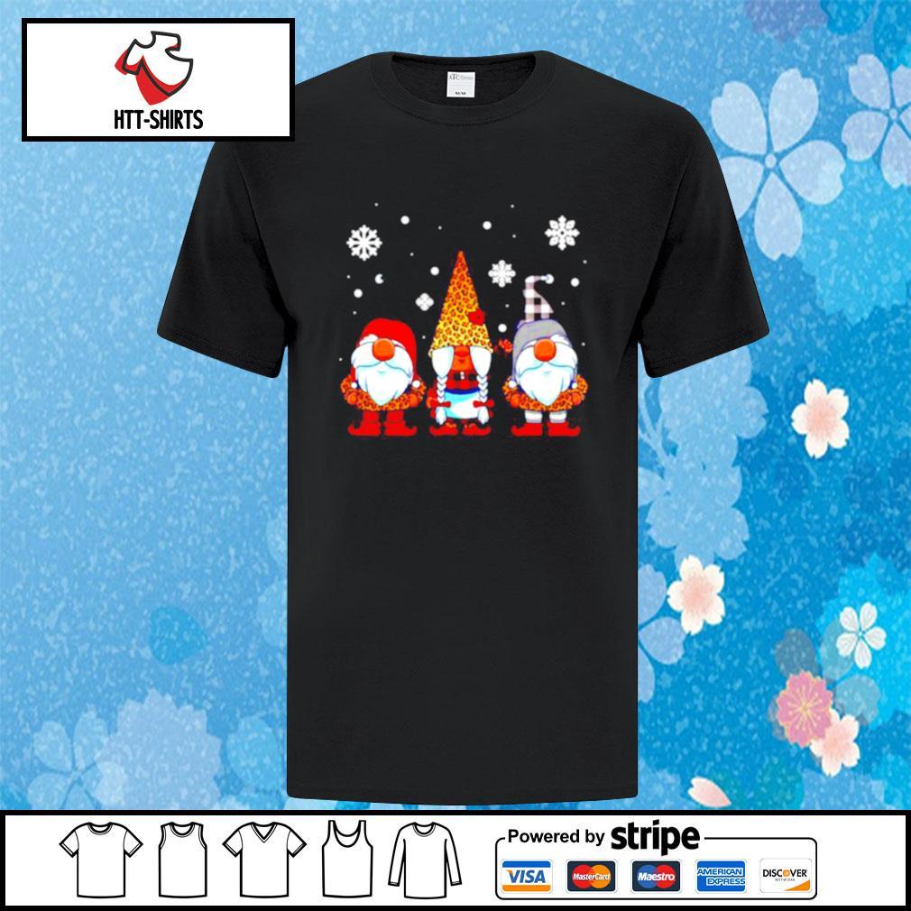 Three Gnomes In Leopard Print Buffalo Plaid Christmas Xmas shirt