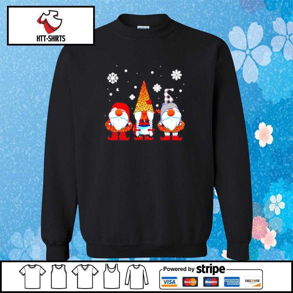 Three Gnomes In Leopard Print Buffalo Plaid Christmas Xmas s sweater