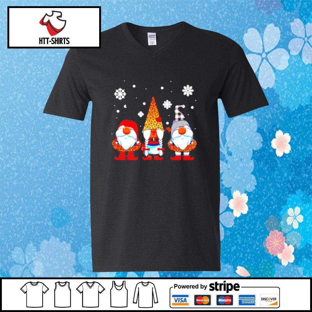 Three Gnomes In Leopard Print Buffalo Plaid Christmas Xmas s v-neck-t-shirt