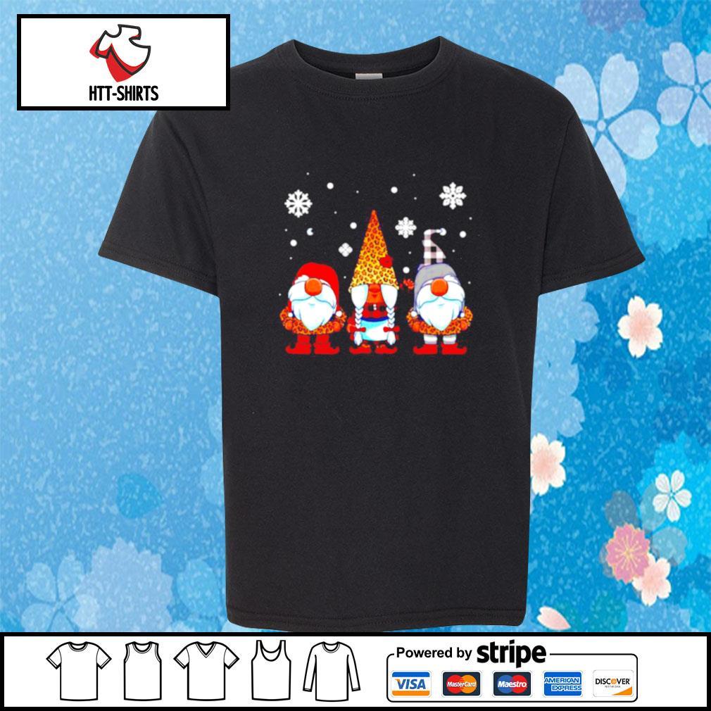 Three Gnomes In Leopard Print Buffalo Plaid Christmas Xmas s youth-tee